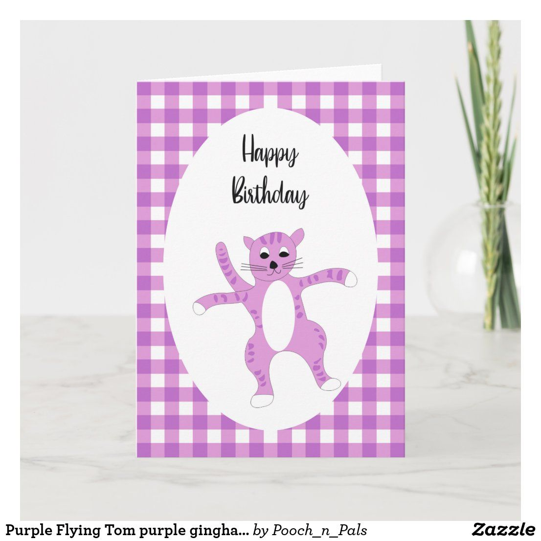 Purple Flying Tom purple gingham birthday card Zazzle.co