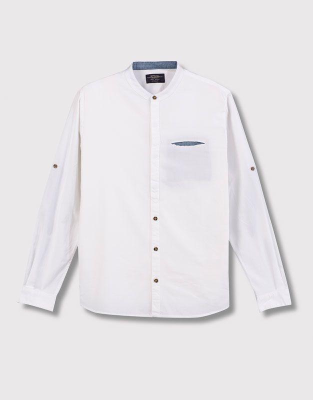 Camisas amp;bear Mao Blanco Cuello 05470540 Hombre Pull Camisa 7yg6Ybfv