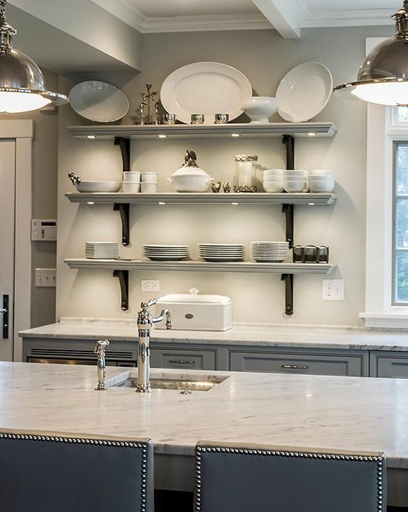 Best Gray French Kitchen Features Walls Painted Gray Benjamin 640 x 480
