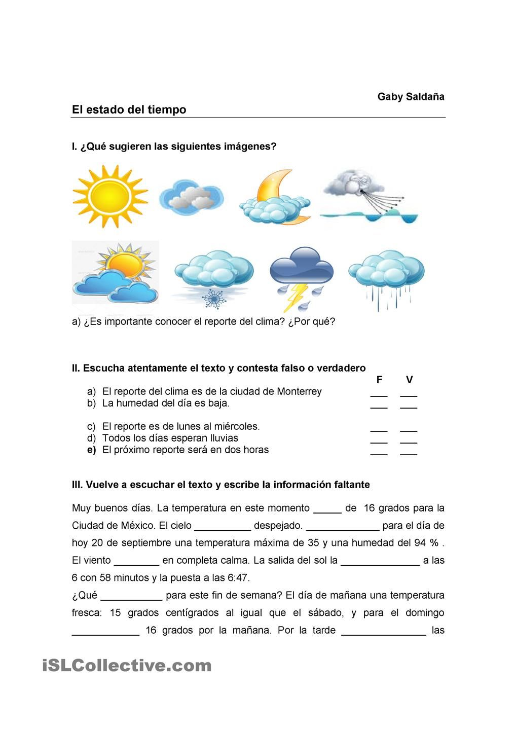 The weather | Spanish Instruction materials | Spanish ...