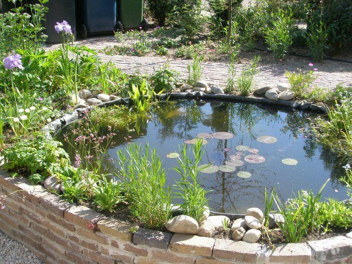 Verhoogde gemetselde ronde vijver vijvers en for Kleine tuinvijver