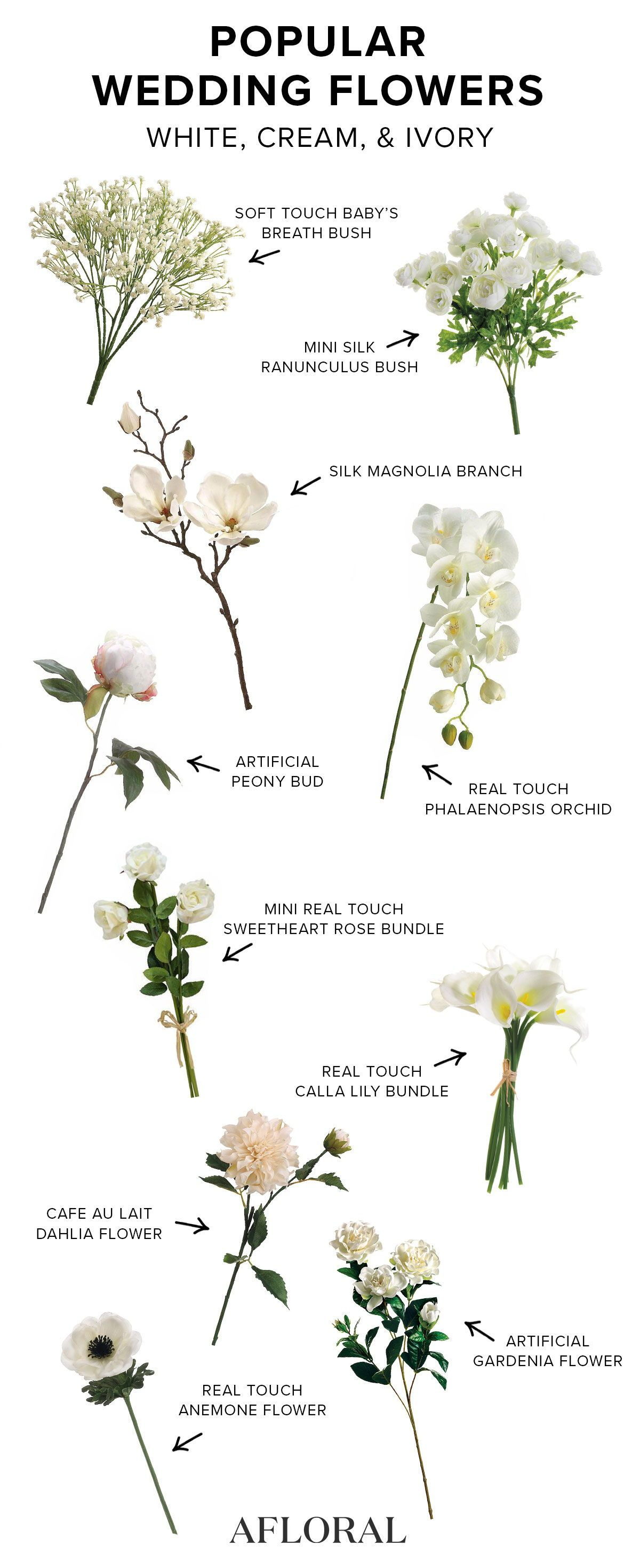 White Artificial Flowers | Silk Wedding Flowers | Afloral.com