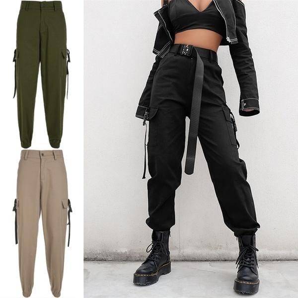 Streetwear Cargo Pants Women Fashion Casual Cool Punk Joggers Black High Waist Loose Female Trousers Korean Style Ladies Pants Capri Wish Ropa Negra Mujer Moda De Ropa Ropa De Moda