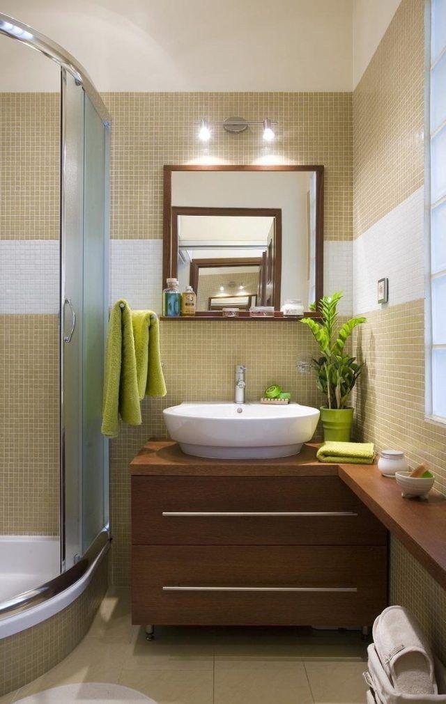 kleine bäder ideen eckduschkabine beige mosaikfliesen - badezimmer ideen fr kleine bder