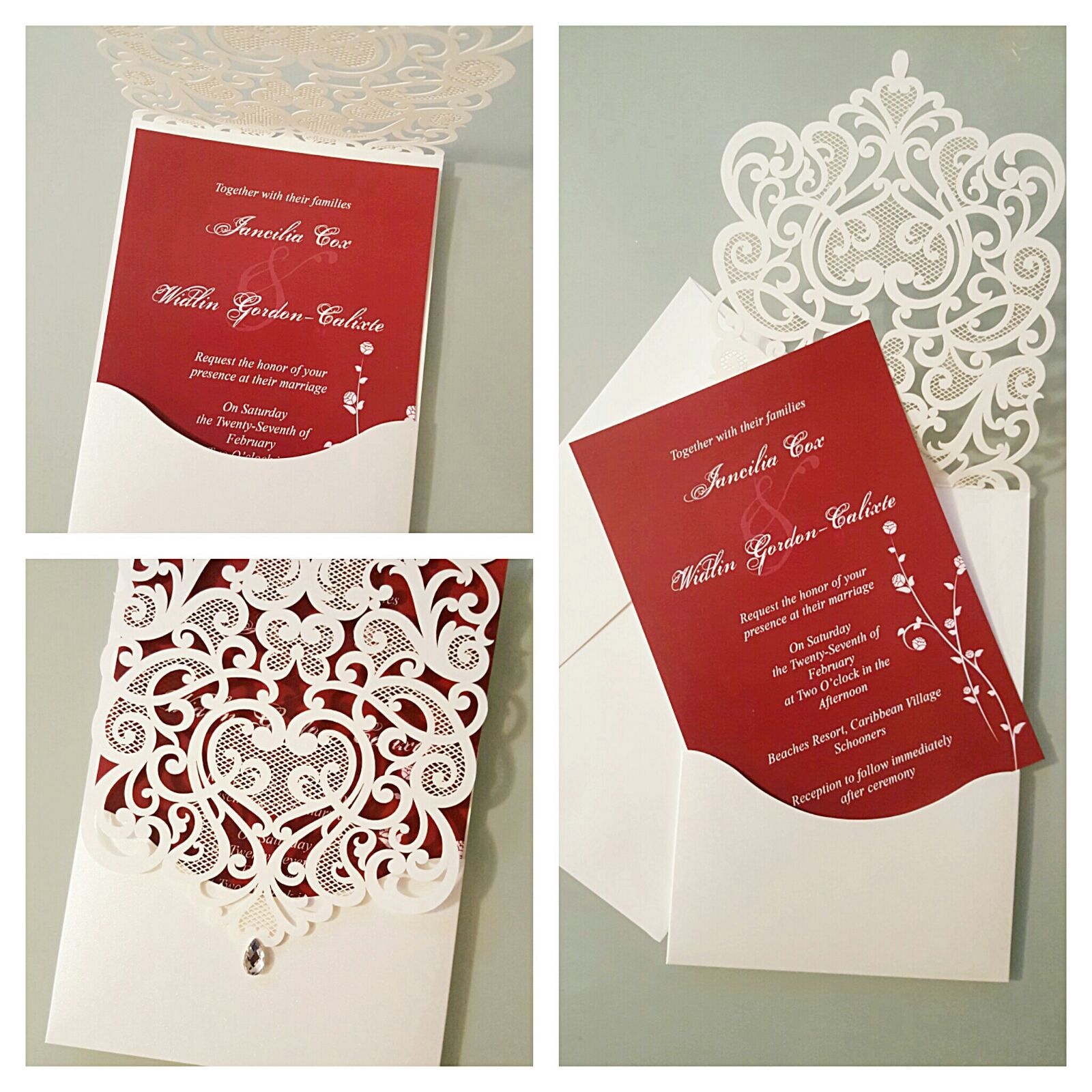Unique Red and White Wedding Invitation. Laser cut envelop pocket ...