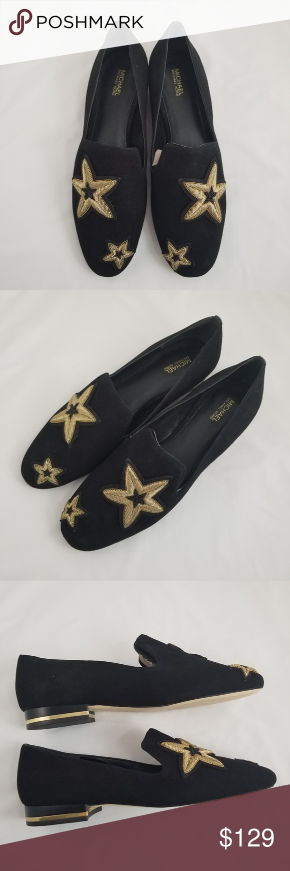 23224a55bce2 MICHAEL KORS Natasha Star Appliqué Suede Flats 9M Add a touch of whimsy to  off-