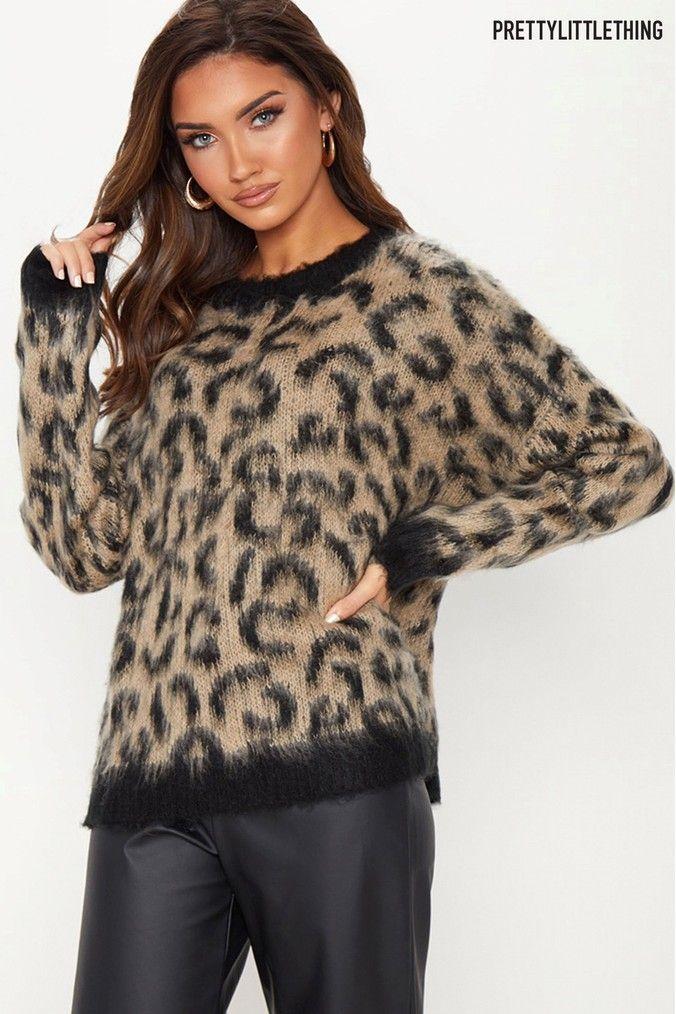 434d9b117ab273 Womens PrettyLittleThing Fluffy Leopard Print Jumper - Brown ...
