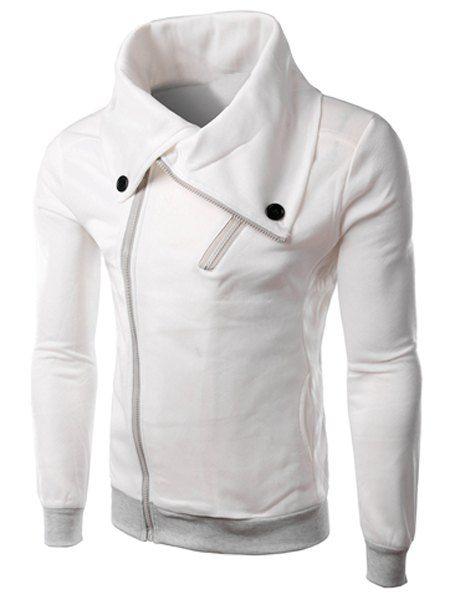Turn-Down Collar Zipper Design Long Sleeve Button-Down Thicken Men\'s ...