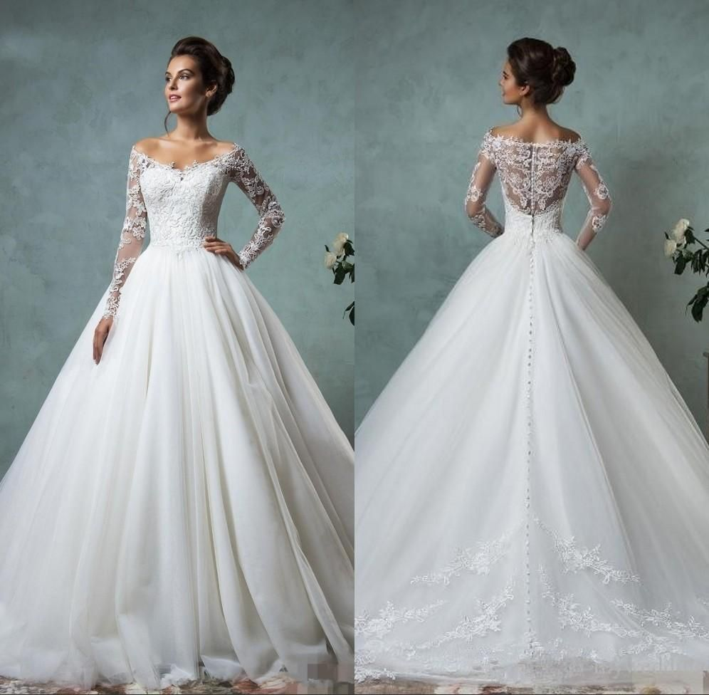 Amelia Sposa 2016 Cheap Lace Wedding Dresses Long Sleeve Fall ...
