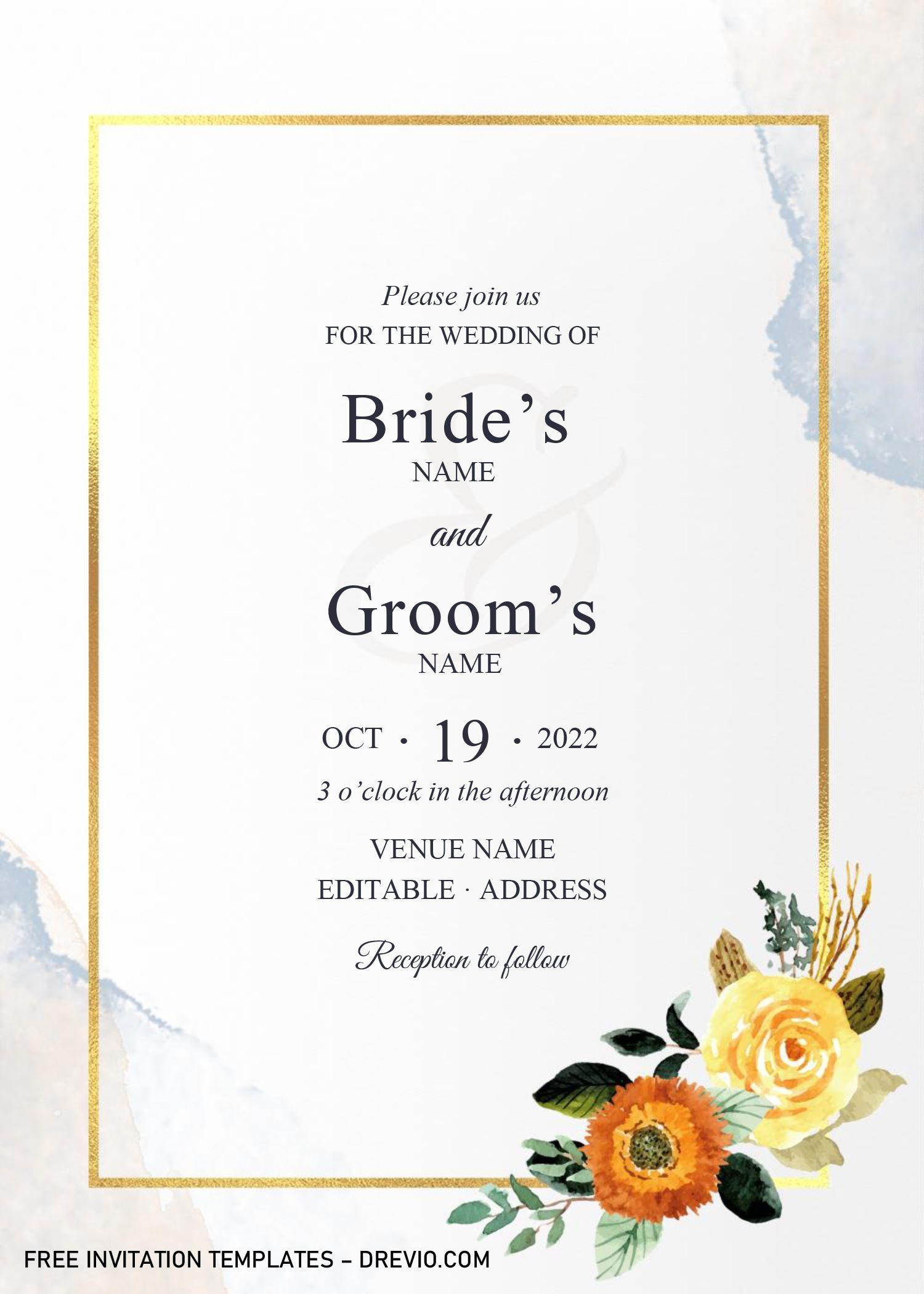 Golden Frame Wedding Invitation Templates Editable With Microsoft Word Wedding Invitation Templates Free Printable Birthday Invitations Invitation Template