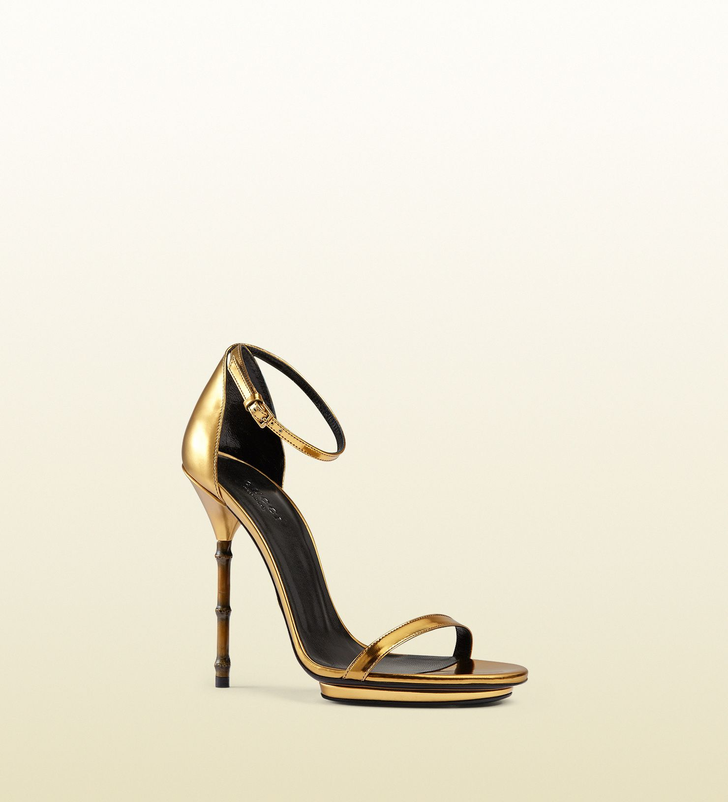 05c8726e7f0 Gucci - metallic leather sandal with bamboo shaped heel 370473BRK008023
