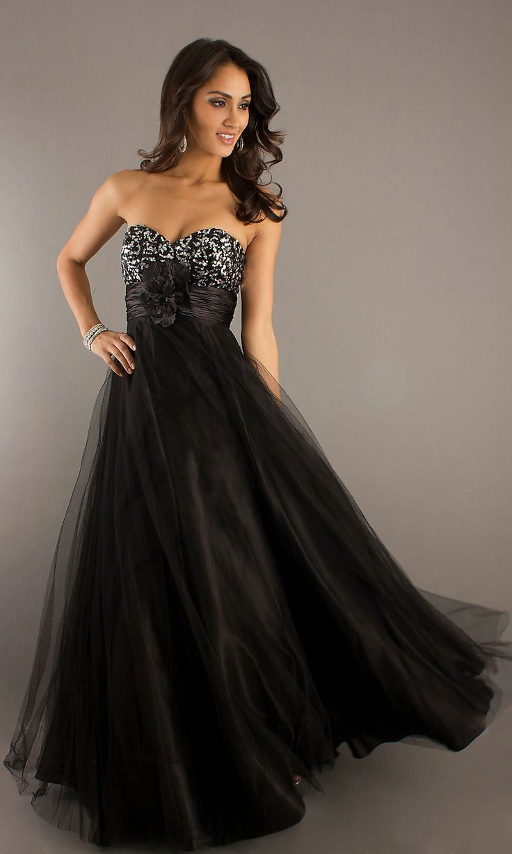 Empire black long prom dress flowy strapless sequin bodice robes
