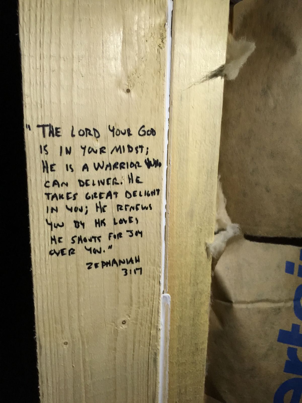 writing scripture on support beams of new construction on construction of walls id=61599