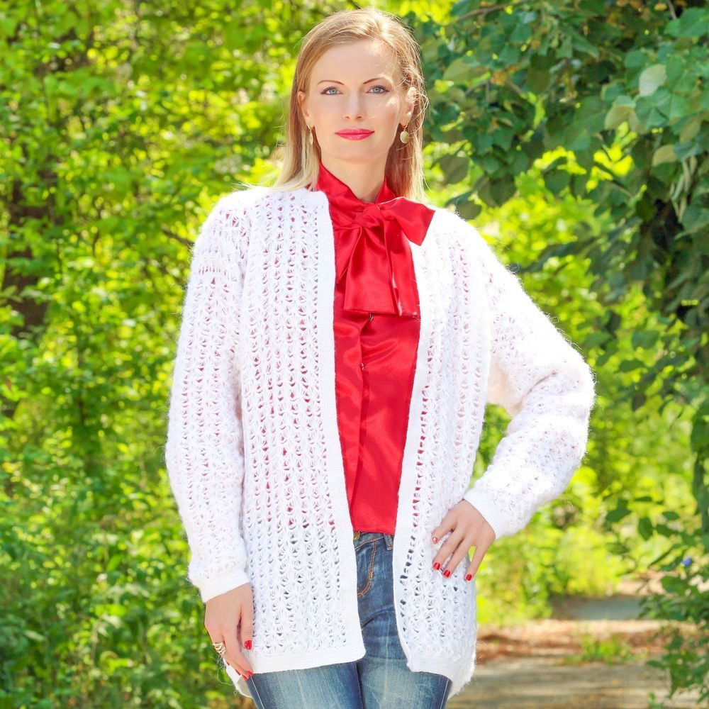 WHITE Hand Knitted Sweater Coat Crochet Summer Slouchy Light Cardigan SUPERTANYA #SuperTanya #BasicCoat