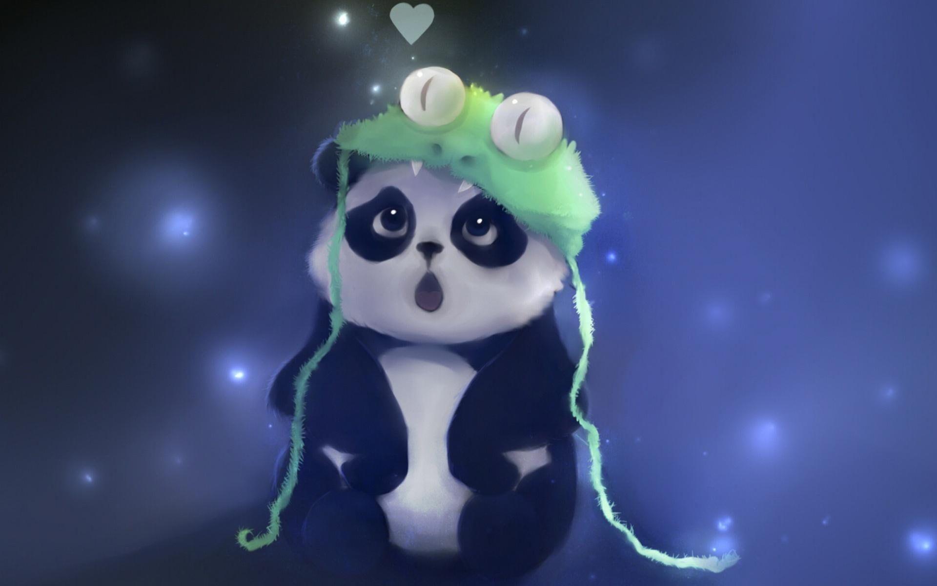 Baby Panda Panda Wearing Green Alligator Knit Cap Illustration Baby Panda 1080p Wallpaper Hdwa Cute Panda Wallpaper Cartoon Wallpaper Hd Panda Wallpapers
