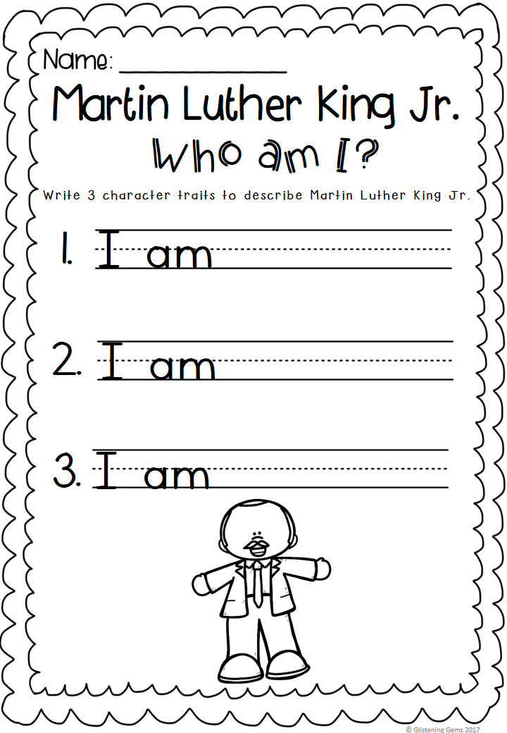 Martin Luther King Jr Character Trait Freebie Includes Who Am I