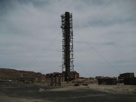 Humberstone, Chile after synthetic saltpeter was invented the residents dwindled until resident free in 1961