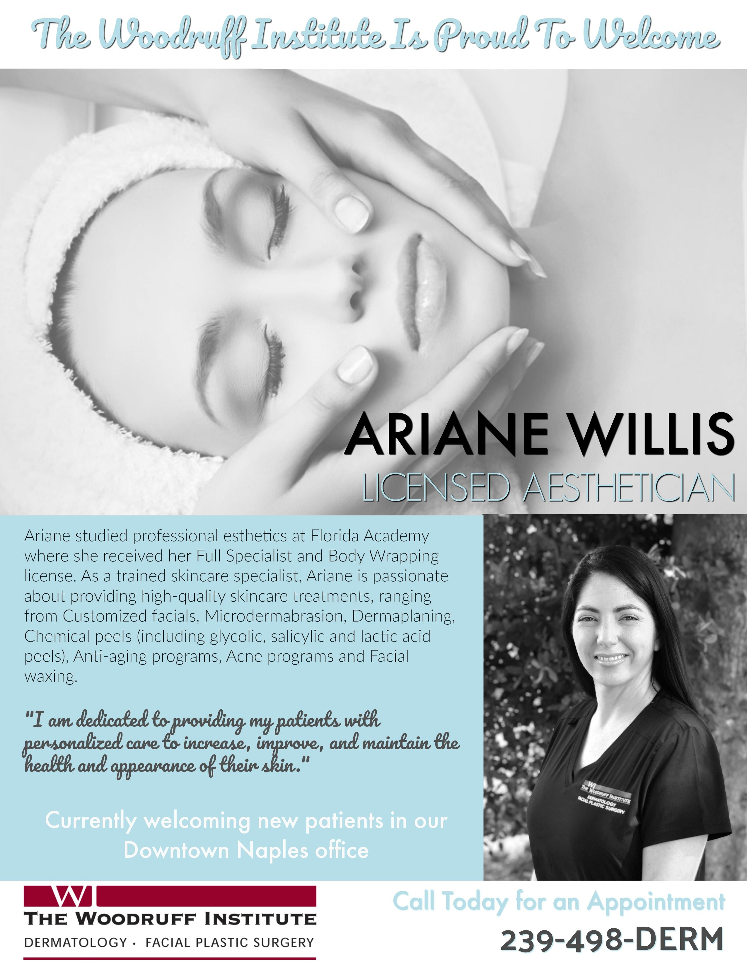 Welcome Our Aesthetician Ariane Ariane Likes To Customize Facials To Her Patient S Needs And Concerns To Hel Skin Care Treatments Chemical Peel Aesthetician