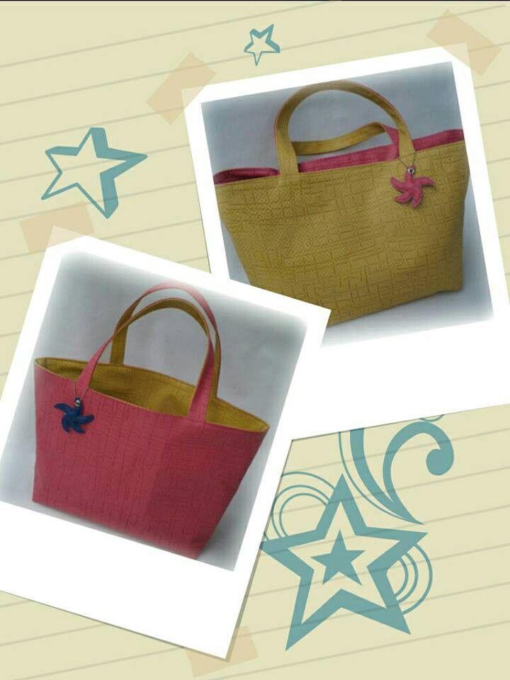 Bolsa de praia Double face — Rosa e amarelo