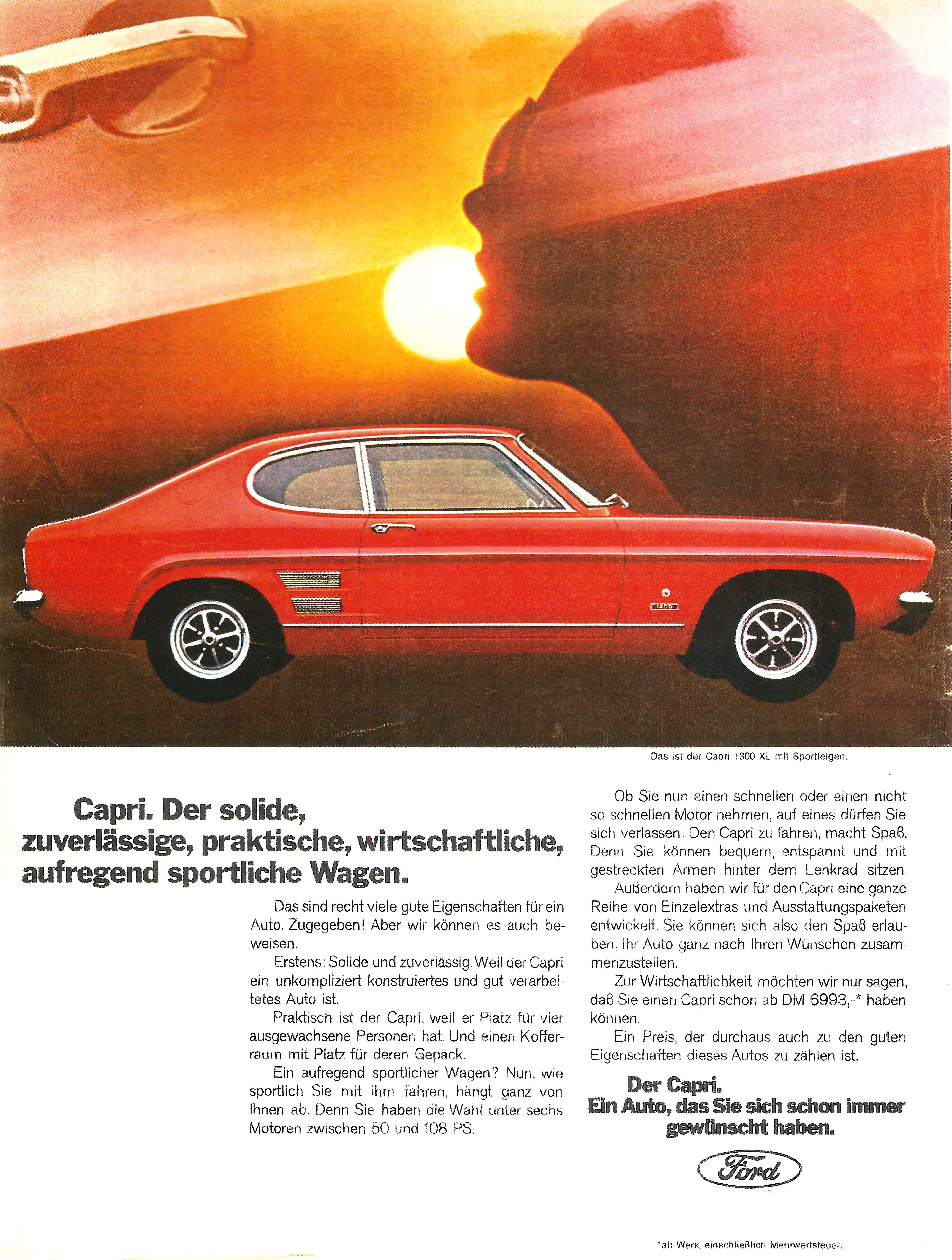 Retro Ford Capri Advertising Garage Poster A4 Size LOOK!
