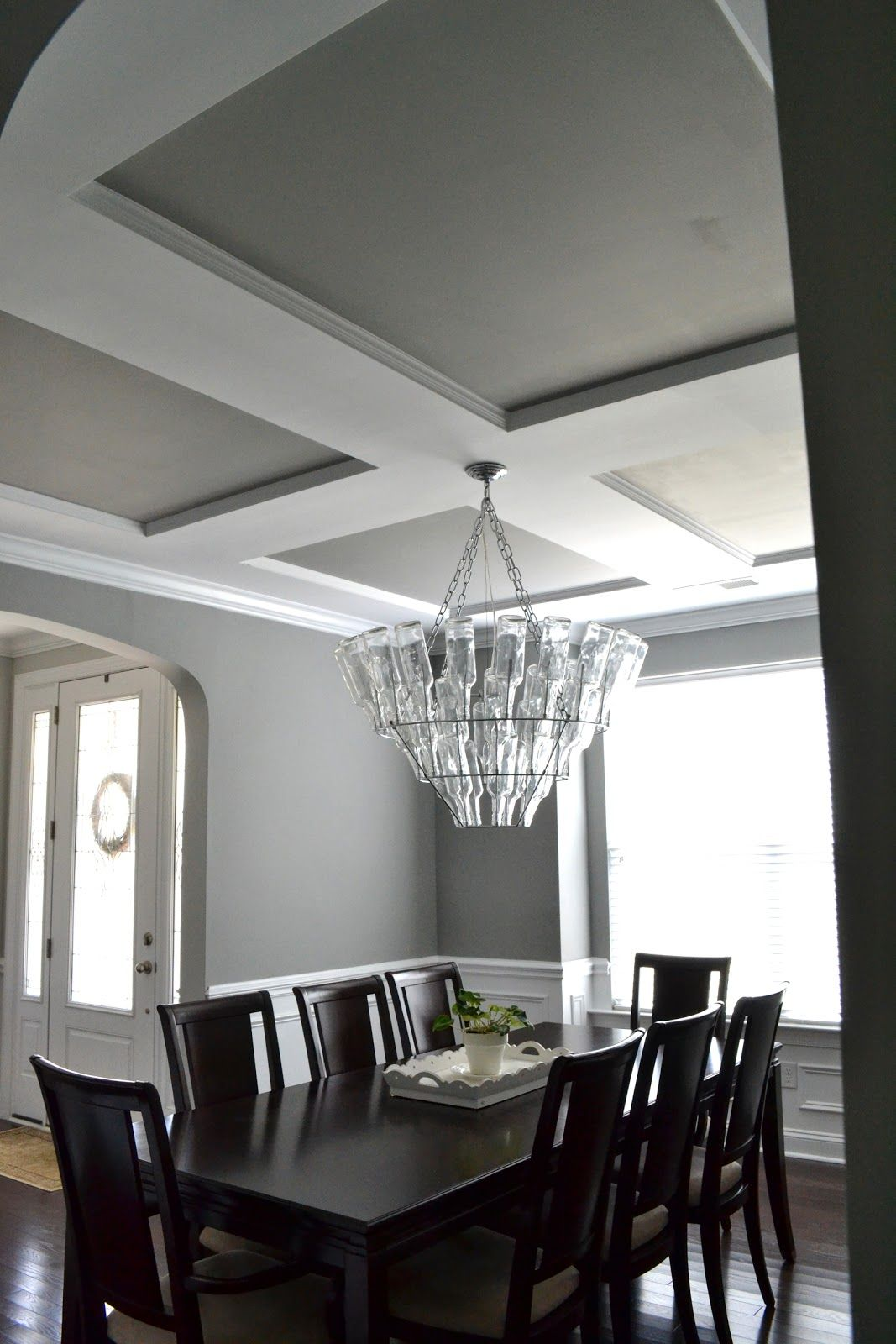 i'm back with another dining room update! you can see the chandelier