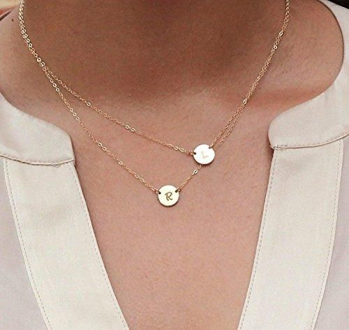 Circle Layered Necklace - Double Small Initial Charm Two Delicate Mother's Necklace - Family Necklace Couple Jewelry Best Friend Necklace Sister Jewelry