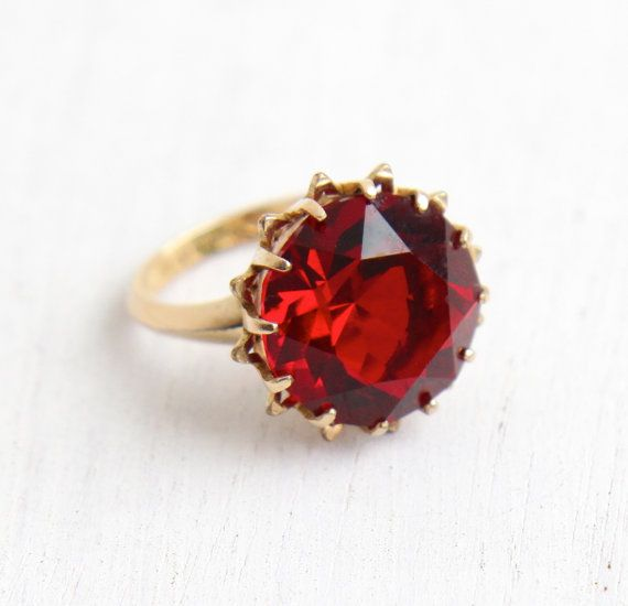Vintage Ruby Red Glass Stone Ring 10k Gold Filled Signed C C Etsy Antique Rings Vintage Stone Rings Red Glass