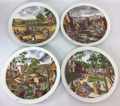 Vtg-Seltmann-Weiden-Seasons-Plates-x4-Spring-Summer-Winter-Fall-7-034-West-Germany