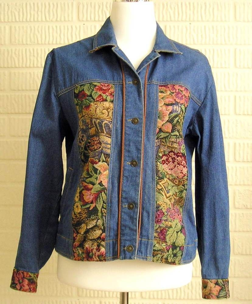 4deccb6a37a Erin London Classic Style Jean Denim Jacket Floral Tapestry Stretch Womens  Small  ErinLondon  DenimJacket  Casual