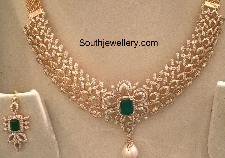 Diamond Necklace Set Weight And Price Diamond Necklace Set Bridal Jewelry Diamond Necklace Indian