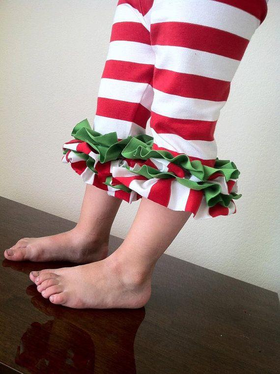 Santa's Helper Christmas Ruffle Leggings by DaintyButton on Etsy, $15.95