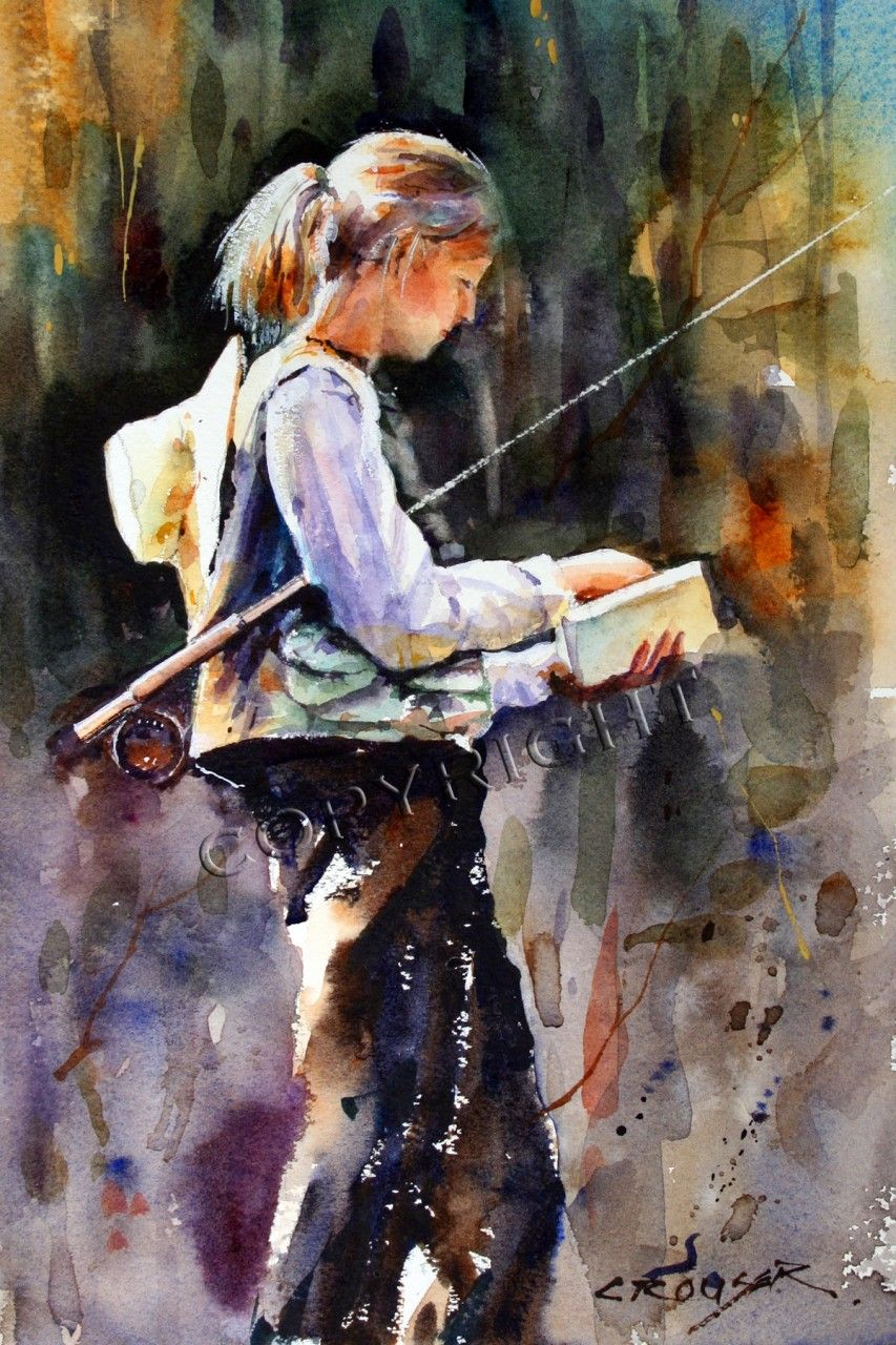 Fly Fishing By Brocha Teichman Oil 16 Inches X 12 Inches Fly