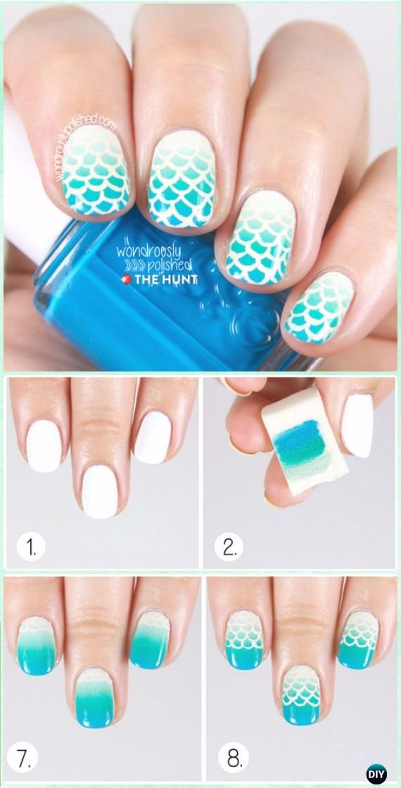 Diy Mermaid Nail Art Manicure Tutorials Summer Beach Nails Beauty
