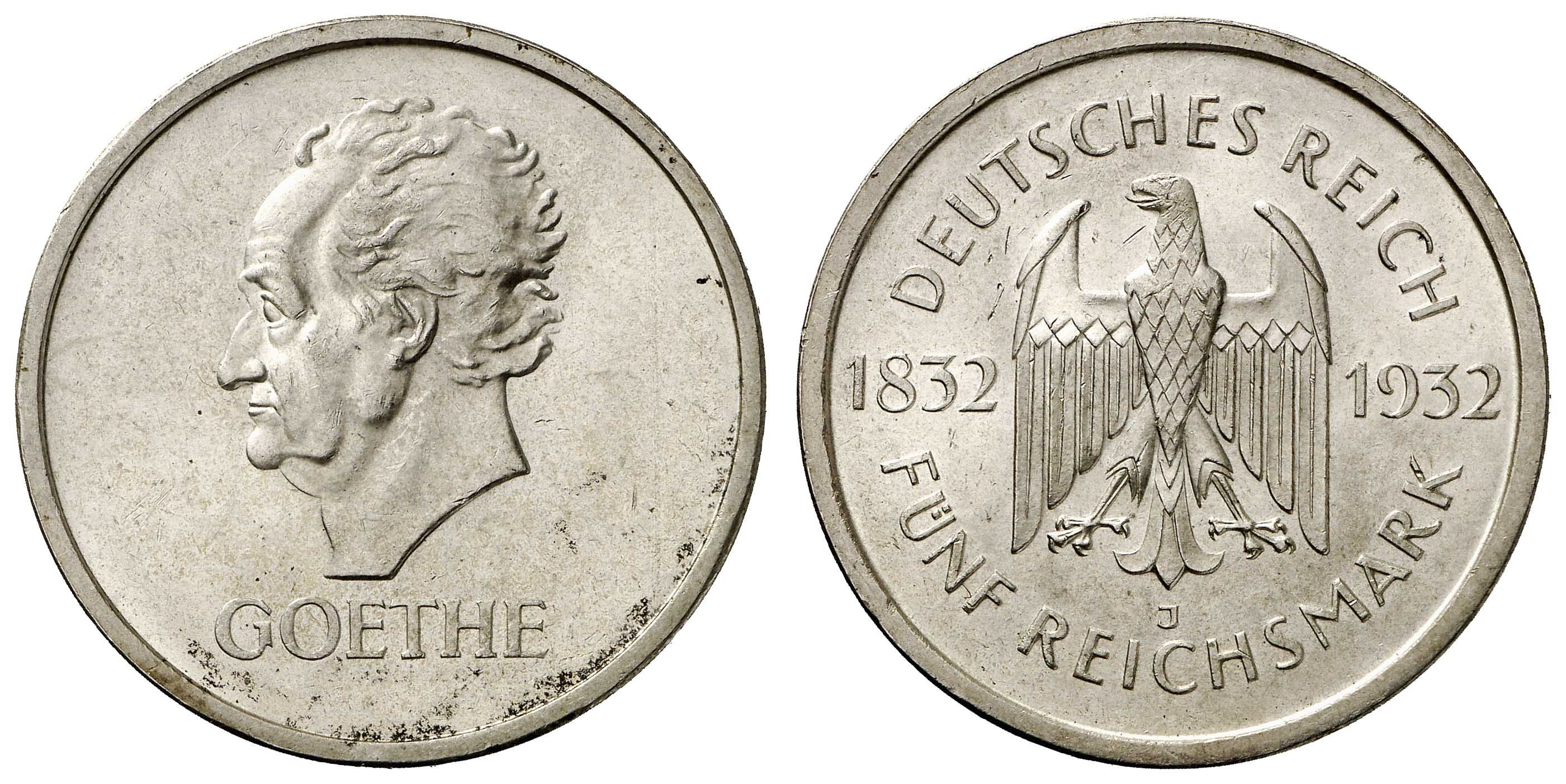 Weimar Republic - GOETHE, 5 RM 1932 J, minimalste Mängel, feine Tönung, RR, Auflage nur 1.634 Ex., Prachtexemplar, nahezu st    Dealer  Auction house Ulrich Felzmann    Auction  Minimum Bid:  1800.00 EUR