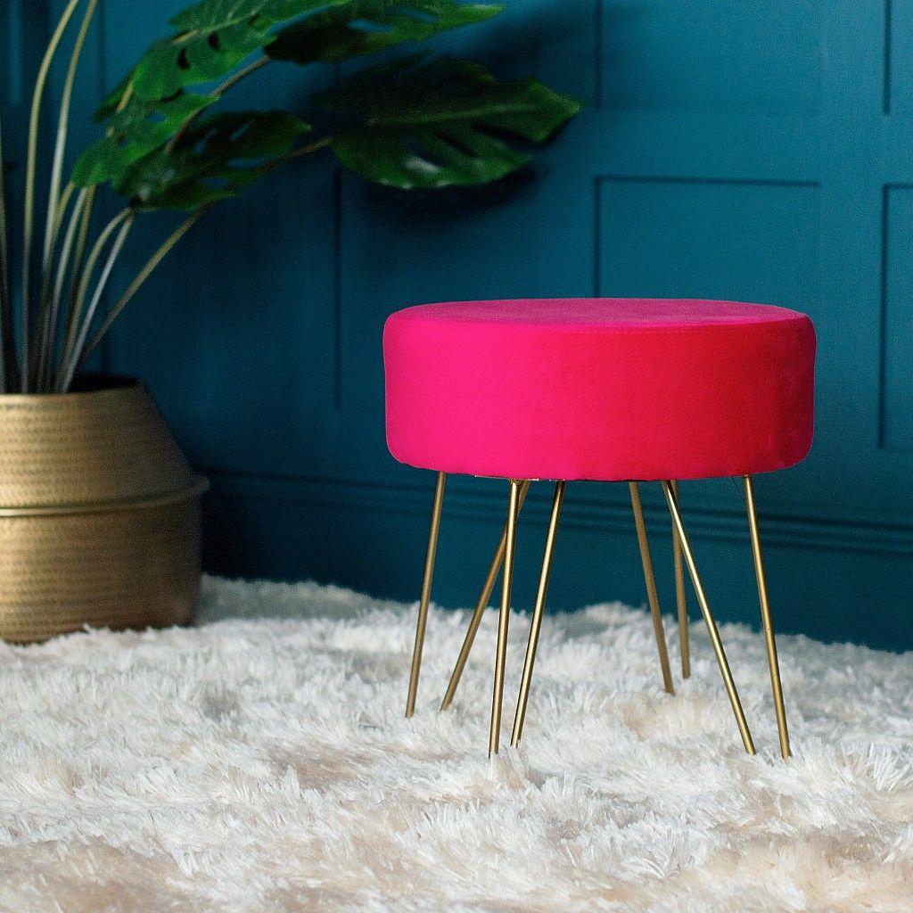 Hot pink velvet footstool brass hairpin legs velvet
