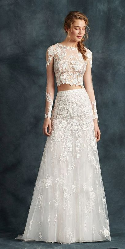 94e58ea73949c0 Elegant long-sleeve two piece wedding dress with tulle skirt and floral  embroidered details; Featured Dress: Atelier Emé