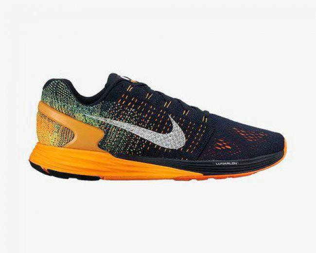 buy online 8d1bb 78e93 Youth Big Boys Nike Flyknit Lunarglide 7 ID Bright Citrus Navy Blue