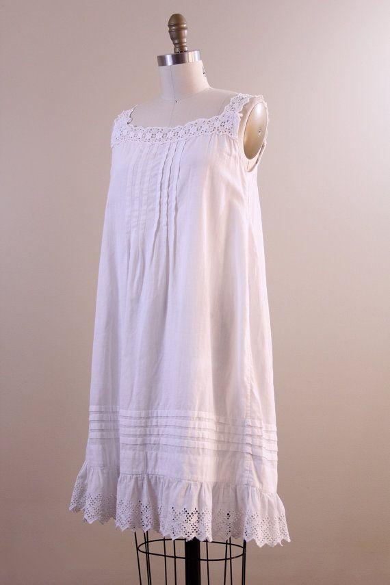 957010768 edwardian slip / nightgown / antique white cotton lace small medium ...