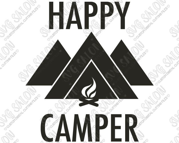 Happy Camper Custom DIY Iron On Vinyl Shirt Decal Cutting File In - Custom vinyl decals cutter for shirts