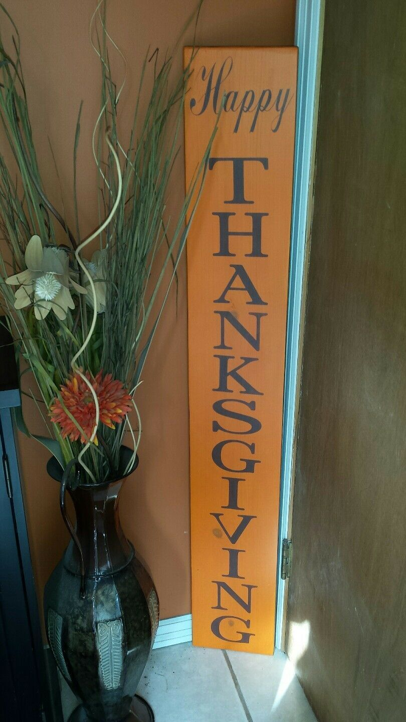 HAPPY THANKSGIVING PORCH Sign Rustic Wood Vertical Primitive Fall Decor Sign - $42.00. Handcrafted distressed wood creating this Rustic Distressed Extra Large Entryway Happy Thanksgiving  Fall Decor Sign. Sign measures 48x 7 1/4 x 3/4. This sign is handmade , handpainted and made to order. The piece has been cut to size, sanded, painted and stenciled with acrylic paint. It has been coated with a clear polycrylic to help preserve it from the elements and help your sign last for years to come #happythanksgiving
