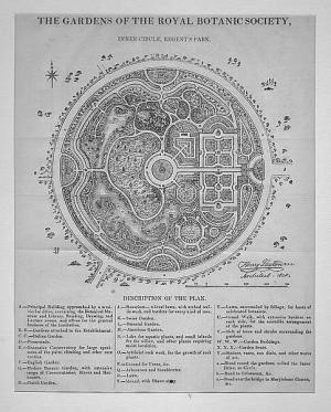 ENGLAND: LONDON: Regent's Park Inner Circle ; um 1838, Holzstich, 23x18 cm: Laxton