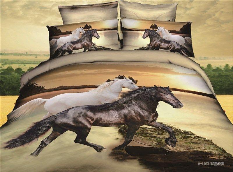 Horse Bedding Sets 3d White Black Horse Comforter Bedding Set