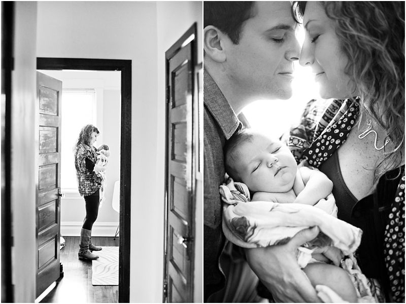 newborn at home, mom and dad giving comfort and love to her and each ...