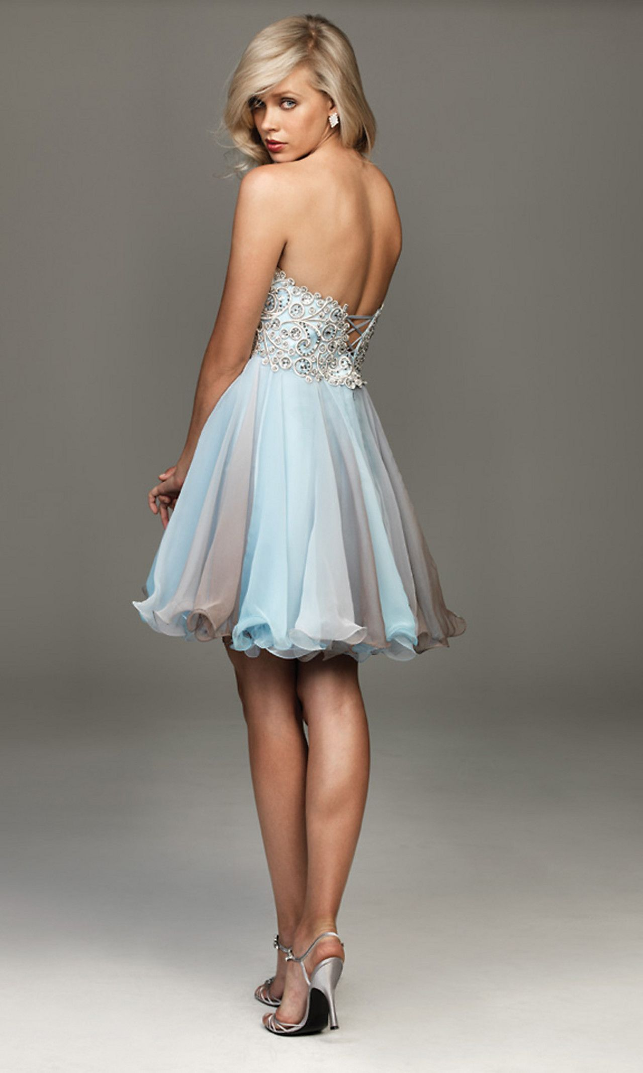 Short strapless madison james blue party dress dresses to feel