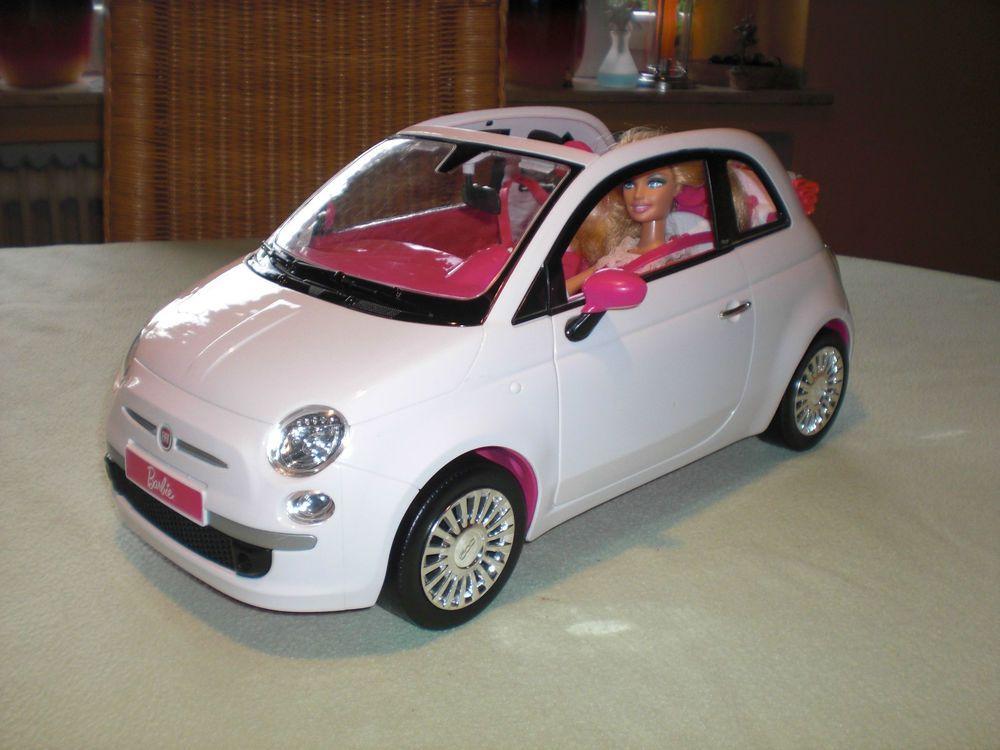 Fiat 500 Cabrio Weiss Barbie Puppe Innen Pink Auto Mit Chrom
