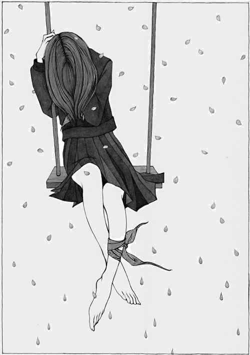 """atmosthetic: """"Original: 卒業2 by 夜舟 on Pixiv. """"   Blanco y negro ..."""