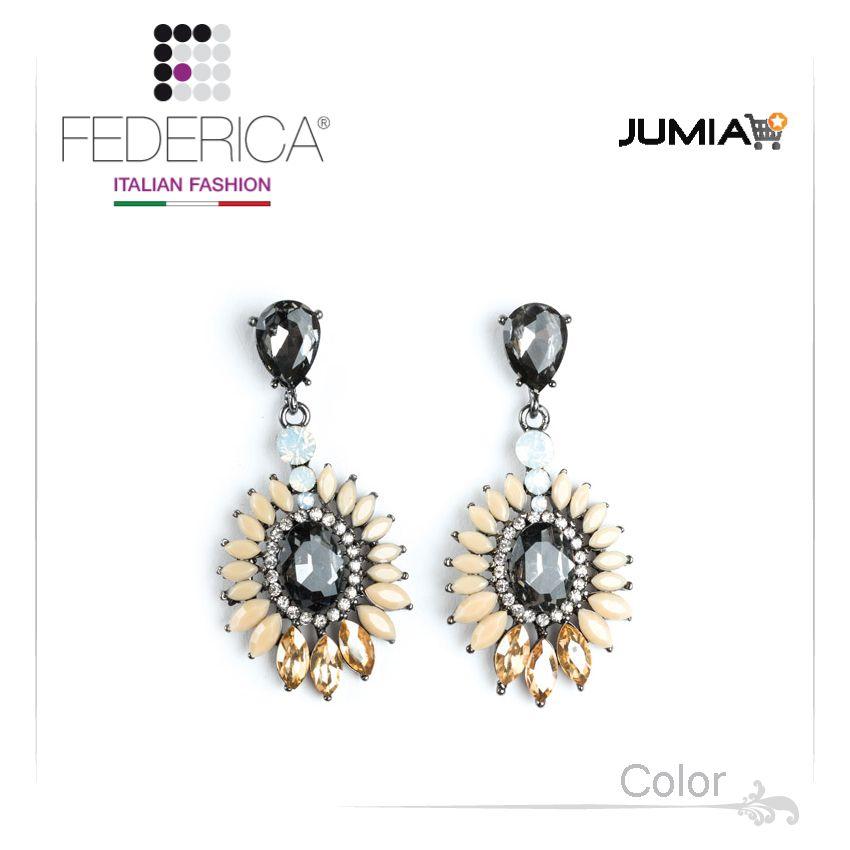 Earrings SARA 3  Pendant rhinestone and crystal earrings. Beige/topaz. 2,800.00 Ksh http://www.federicafashion.com/ep187/earrings-sara-3/ http://www.jumia.co.ke/federica-fashion/