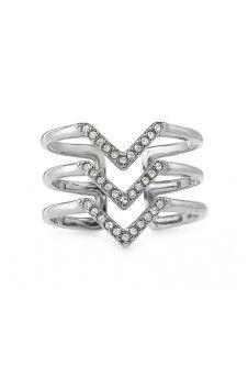Pavé Chevron Ring - Silver   £25