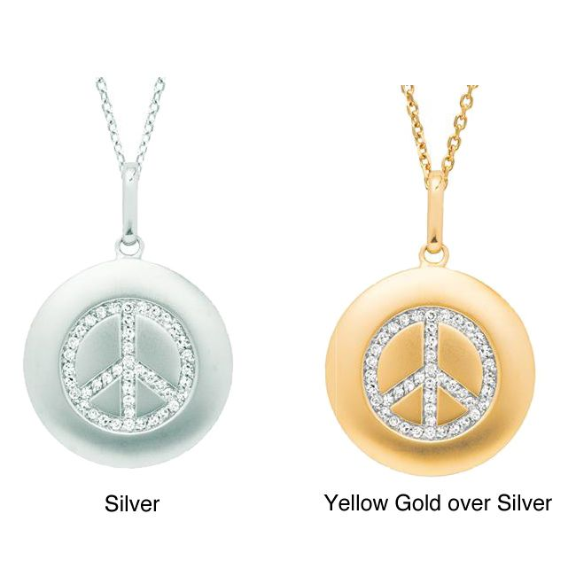 Sterling silver 16ct tdw diamond peace sign necklace yellow size sterling silver 16ct tdw diamond peace sign necklace yellow size 18 inch satin peace sign necklace modern times and peace aloadofball Choice Image