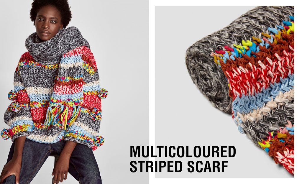 9d6a15395043 Accesorios para mujer. Lo más nuevo para mujer. Jersey y bufanda en la  misma línea desenfadada multicolor. Zara